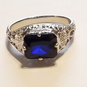 2 carat Lab Created Sapphire Solitaire Ring